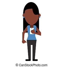 afro american woman message phone device vector illustration...
