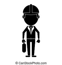 architec wearing safety helmet suitcase pictogram vector...