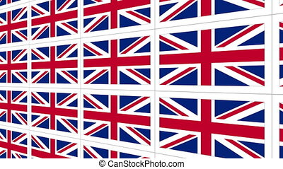 Postcards with United Kingdom national flag looped - Sheet...