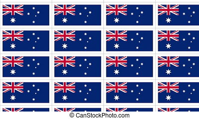 Postcards sheet with Australia national flag looped - Sheet...
