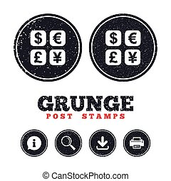 Currency exchange sign icon. Currency converter. - Grunge...