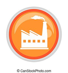 circular button with factory and smoke contamination vector...