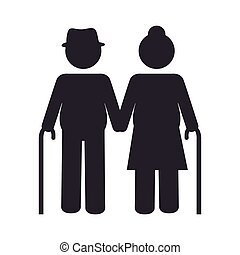 grandparents couple silhouette icon vector illustration...
