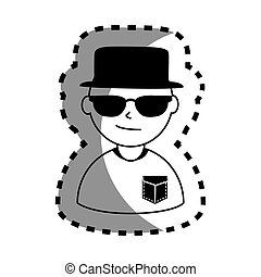 sticker with half body man monochrome with hat and sunglasses