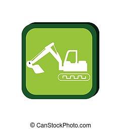 green frame with backhoe with shovel vector illustration