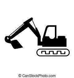 silhouette backhoe with crane for construction vector...