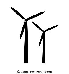 black silhouette windmill alternative and renewable energy icon