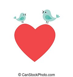 heart love with birds card icon