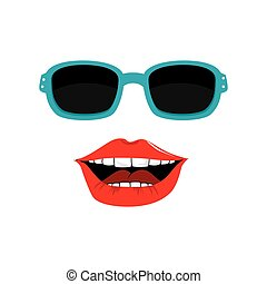 woman face with lips and sunglass