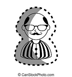 sticker with half body man monochrome with mustache and glasses with shirt striped and bald