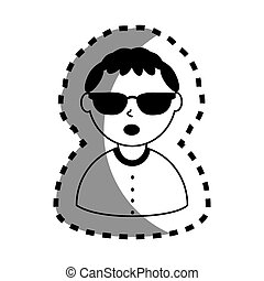 sticker with half body man monochrome with short hair and sunglasses