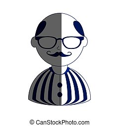 man half body silhouette color with mustache and glasses with shirt striped and bald