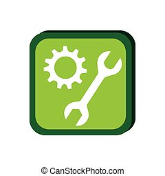 green frame with pinion and wrench vector illustration
