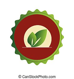 colorful circular frame with red background with leaves