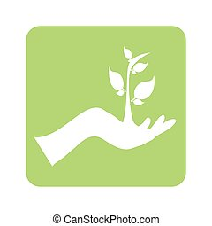 opaque green background with hand and plant vector...