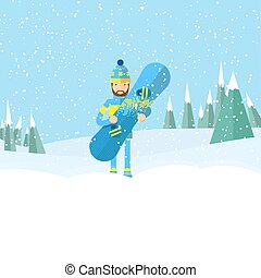 Vector illustration of the man carrying a snowboard by his hand and waving with another hand on snowy mountains and fir trees background. Winter sport topic.