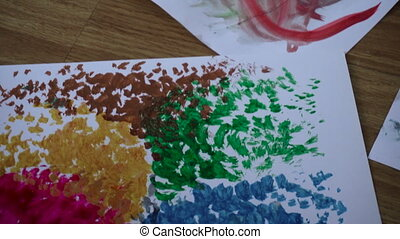 set of creative abstract colorful graphics on a wooden table...
