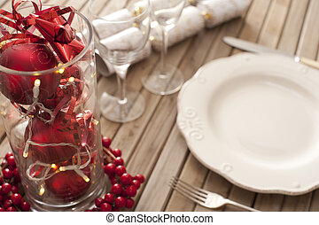Christmas place setting with red decorations - Christmas...