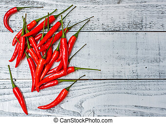 Hot and spicy red chilli on wood table background