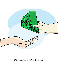 Payment - Cartoon illustration showing a hand giving money...