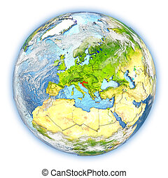 Croatia on Earth isolated - Croatia highlighted in red on...