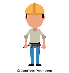 construction man helmet tool belt and helmet-cut line vector...