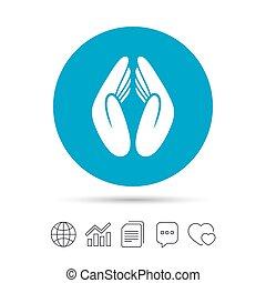 Pray hands sign icon. Religion priest symbol. - Pray hands...