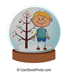 crystal sphere with christmas tree and blond boy inside