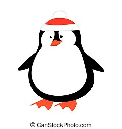 cute penguin with christmas hat isolated icon