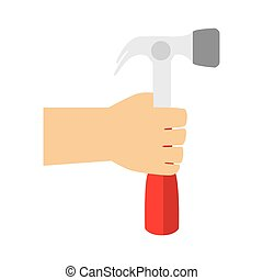 color silhouette with hand holding hammer vector...