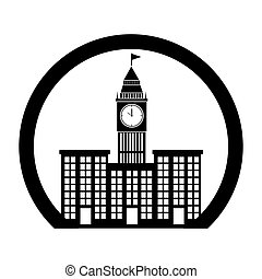 monochrome circle contour with buildings and elizabeth tower...