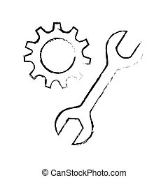 silhouette sketch blurred pinion and wrench vector...