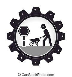 monochrome gear wheel with man and wheelbarrow vector...
