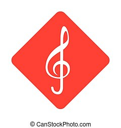 color silhouette square with sign music treble clef vector...
