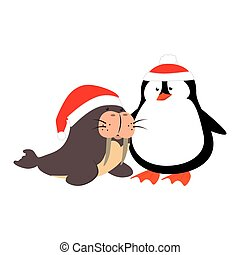 cute penguin and seal with christmas hat isolated icon