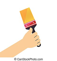 color silhouette with hand holding paintbrush vector...