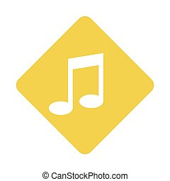 color silhouette square with musical note vector...