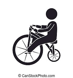 human figure riding bike vector illustration design