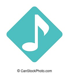 color silhouette square with sign eighth note vector...
