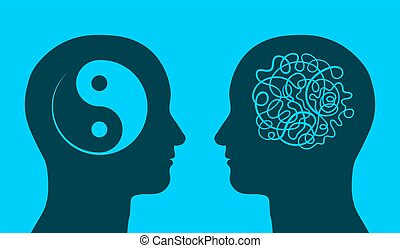 Yin yang and chaos symbol in thinking heads - Yin yang and...