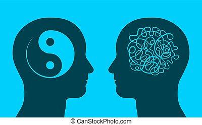 Yin yang and chaos symbol in thinking heads - Yin yang and...