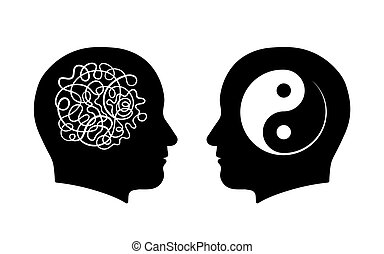 Confusion vs. calmness yin yang concept - Figures of man...