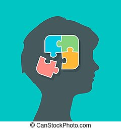 Woman putting the puzzle pieces together in brain