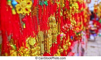 Close View Red Golden Decorations for TET on Market in...