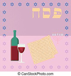 Happy passover with star of david, wine and matzah. - Happy...
