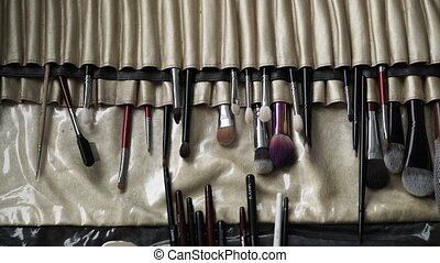 Makeup brushes kit closeup shot