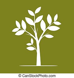 White Tree on Green Background. Vector Illustration.