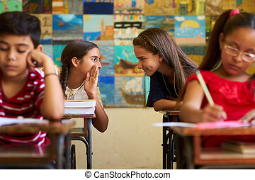 Girls Cheating During Admission Test In Class At School