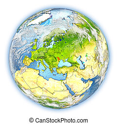 Moldova on Earth isolated - Moldova highlighted in red on...