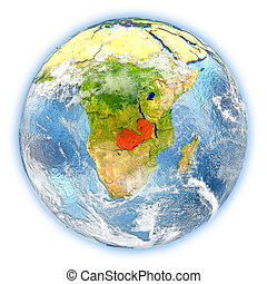 Zambia on Earth isolated - Zambia highlighted in red on...